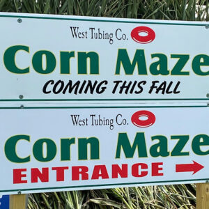 The Corn Maze at West Tubing Company Sign - Warne, NC